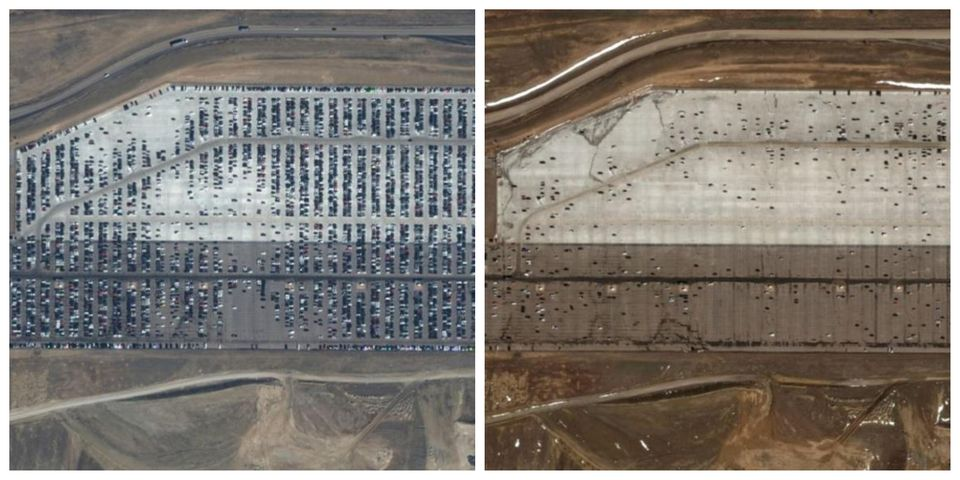 Αριστερά: Το πάρκινγκ...