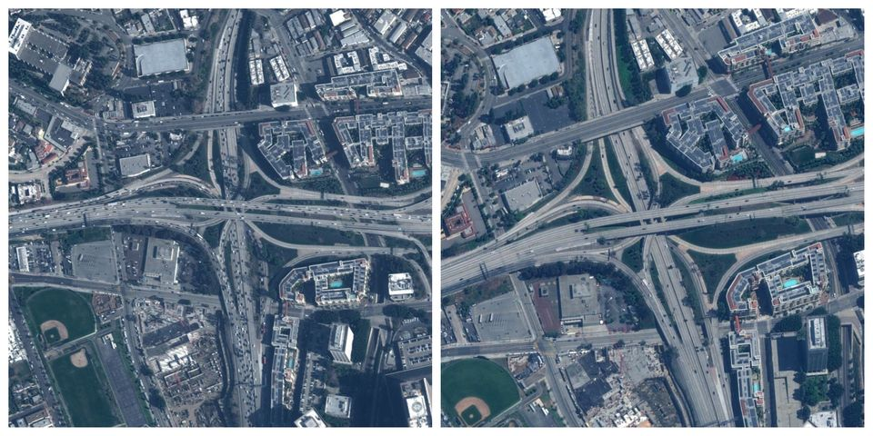 Αριστερά: Κόμβος σε αυτοκινητόδρομο...