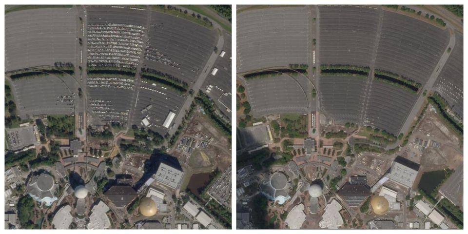 Αριστερά: ΤοWalt Disney World Resort υπό...