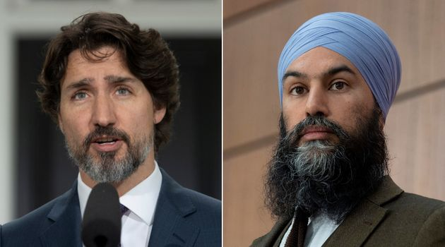 Prime Minister Justin Trudeau and NDP Leader Jagmeet Singh are shown in a composite image of photos from...