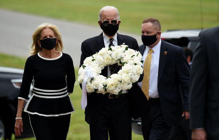 Former Vice President Joe Biden and his wife, Jill Biden, visit Delaware Memorial Bridge Veterans Memorial Park on Monday, Ma