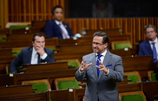 Bloc Quebecois Leader Yves-Francois Blanchet stands during question period in the House of Commons on...