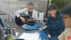 한 시민단체가 이재용 자택 앞에서 '폭식 투쟁'을
