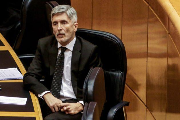 El ministro de Interior, Fernando Grande Marlaska, en una sesión de control en el Senado el 5...
