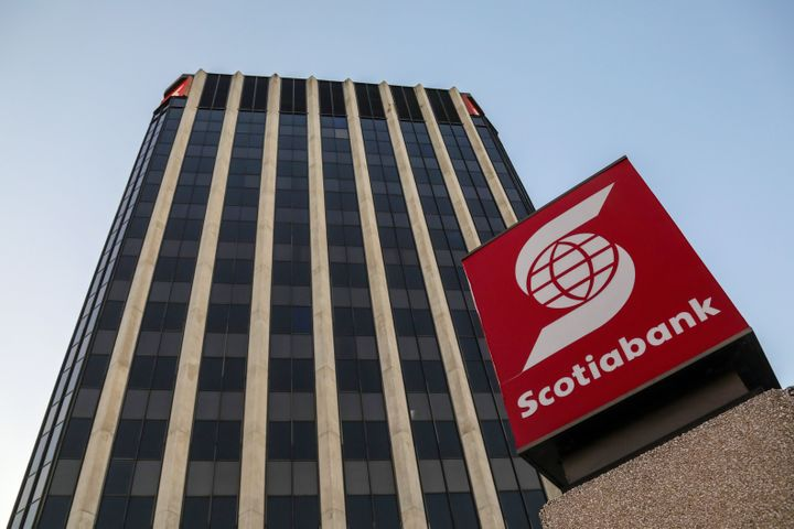 A Scotiabank office is seen here in Kingston, Jamaica, on Jan. 28, 2020. The Canadian bank says it continues to be profitable amid the coronavirus pandemic.