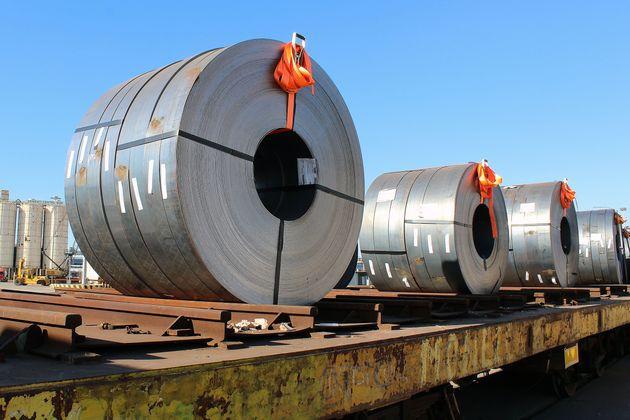 TARANTO, ITALY - APRIL 09: Steel produced by Ilva stationary in the port of Taranto, ready to be shipped...