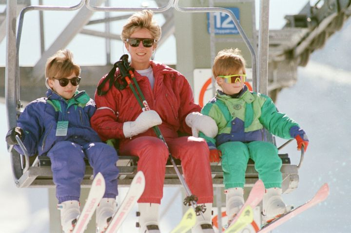 Princess Diana with her sons William (left) and Harry on a ski holiday in Switzerland on April 7, 1995.