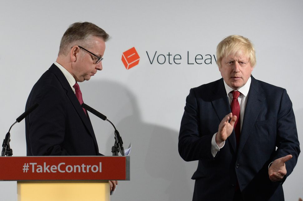 Michael Gove (left) and Boris Johnson holding a press conference at Vote Leave HQ in Westminster, London, after David Cameron