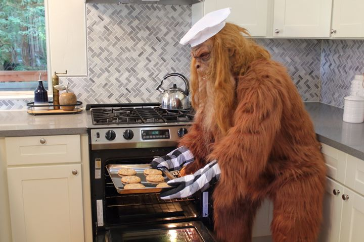 Bigfoot, aka real estate agent Daniel Oster, bakes in a home in the Santa Cruz Mountains.