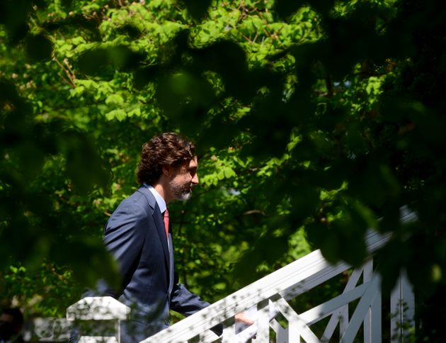 Prime Minister Justin Trudeau holds his daily briefing from Rideau Cottage amid the COVID-19 pandemic...