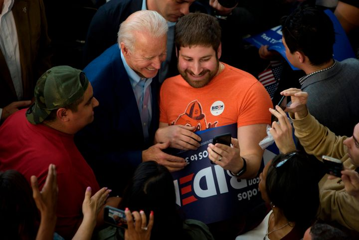 Presidential candidate Joe Biden takes selfies with supporters at a March 2 rally at Texas Southern University in Houston.