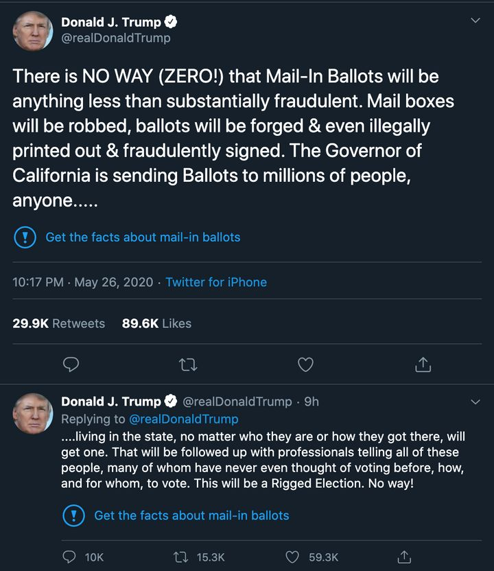Twitter applied fact-check labels to two of Trump's tweets about mail-in ballots.