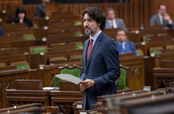 Prime Minister Justin Trudeau responds to a question in the House of Commons on Parliament Hill on May 26, 2020.