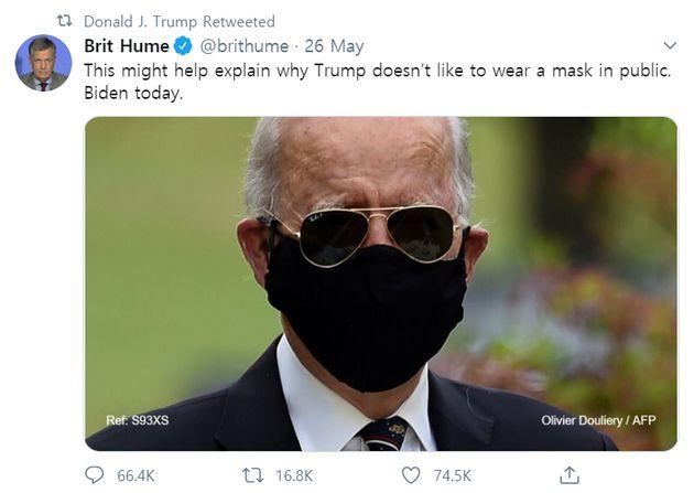바이든의 사진을 놀리는 트윗을 트럼프가 리트윗한