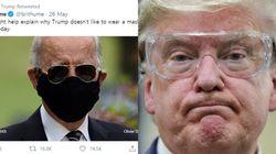 조 바이든이 마스크 안 쓰는 트럼프에