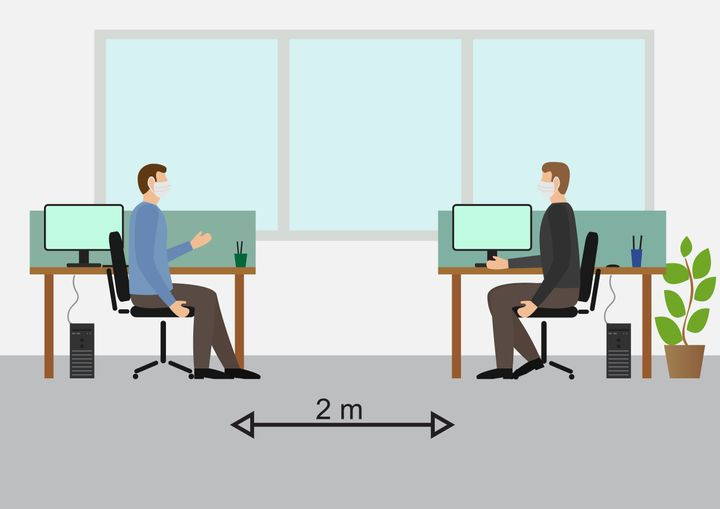 Social Distancing at the Office.Workers Working with Mask, Side view ,talking , flat design illustration vector