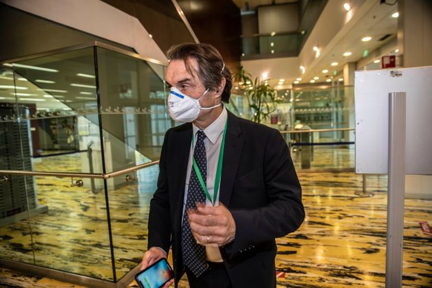 Lombardy region president Attilio Fontana arrives at the Lombardy Region headquarter, in Milan, Italy,...