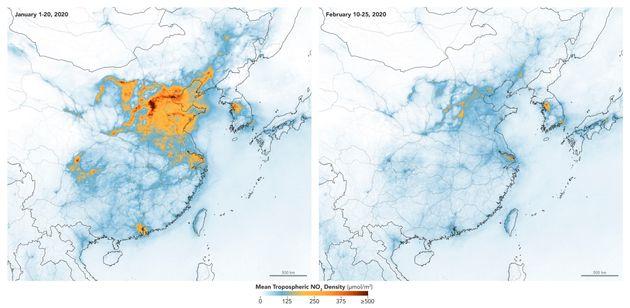 중국 이산화질소 농도를 표시한 지도. 왼쪽은 1월1일~20일, 오른쪽은 우한 등 일부 지역 봉쇄 후인
