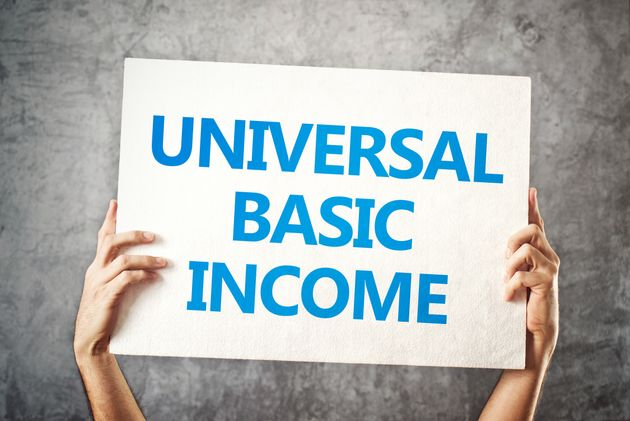 Universal basic income concept with hands holding