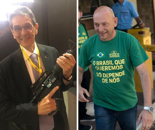 Roberto Jefferson, presidente nacional do PTB, e o empresário Luciano Hang, apoiadores de Bolsonaro,...