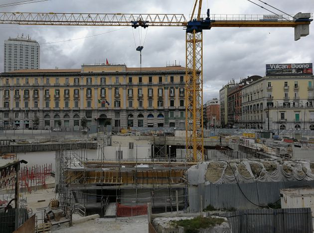 Naples, Campania, Italy - 10 March 2019: The construction site in Piazza Municipio for the construction...