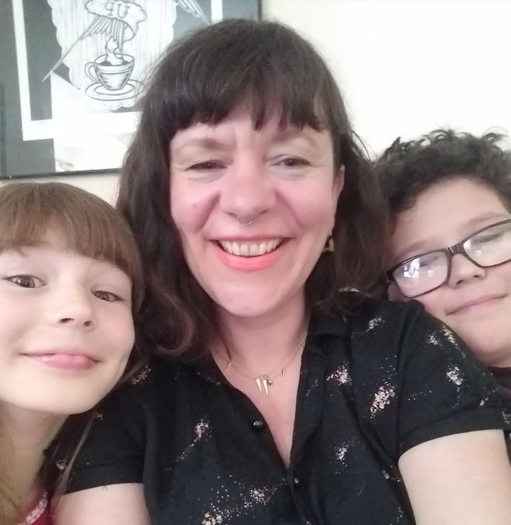 Kerry Mead with her son Sam, 11 and daughter Ruby, eight