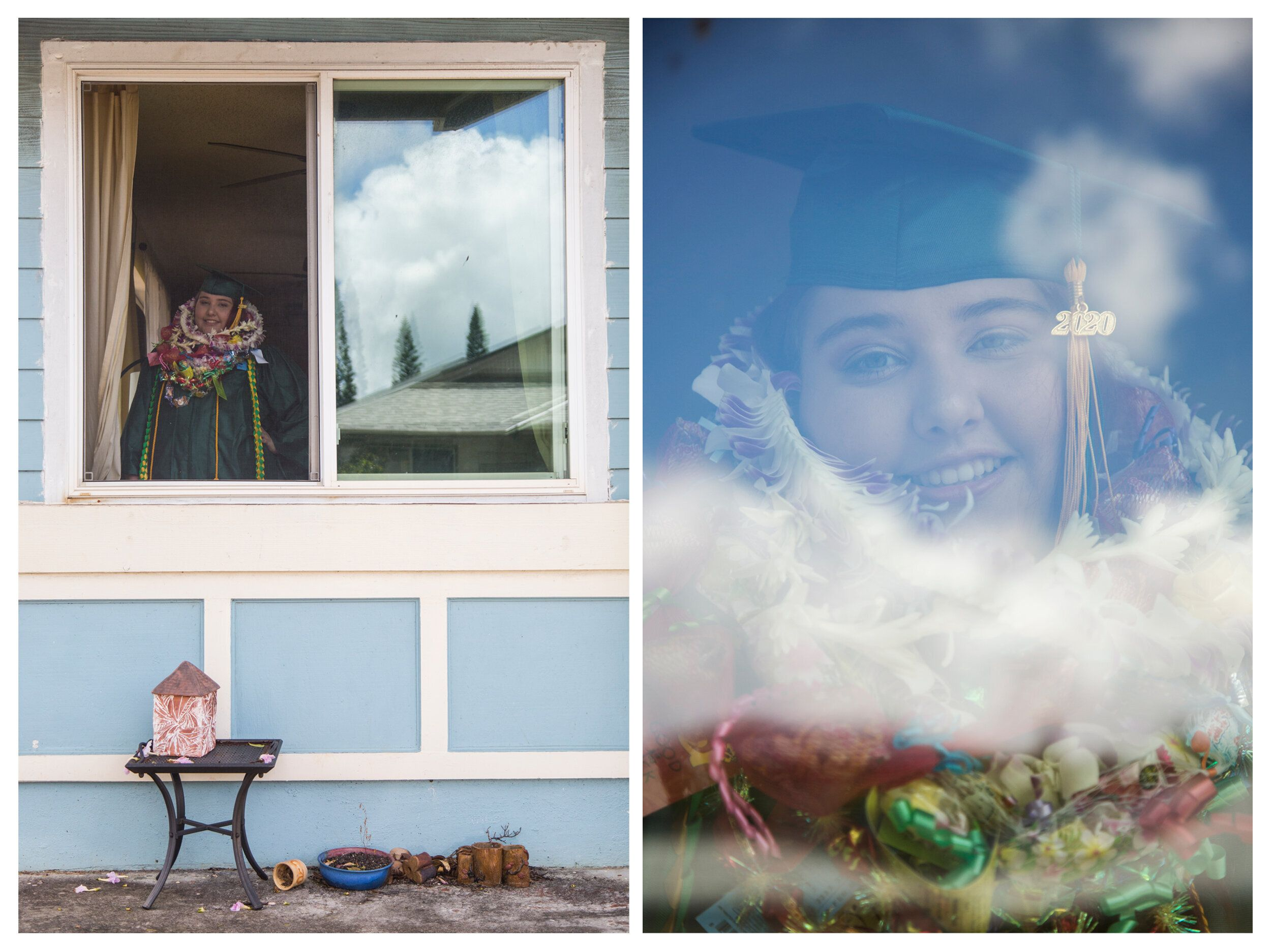 Asha Silva, a Leilehua High School graduate, shows off her colorful leis at her home in Mililani, Hawaii, on May 23.