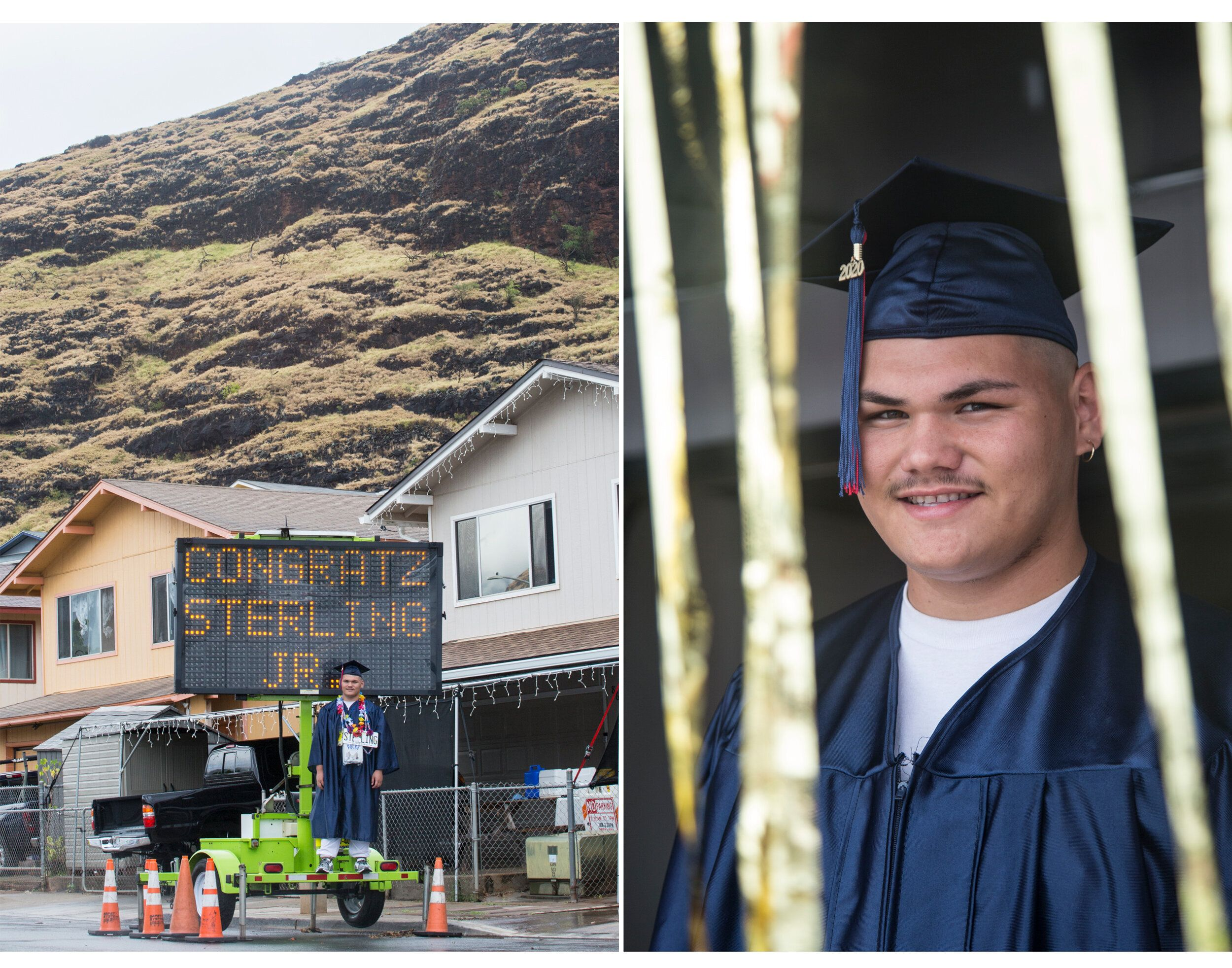 Sterling Hauki Williams Jr., a Waiʻanae High School graduate, stands atop a customized electronic road sign at his home in Wa