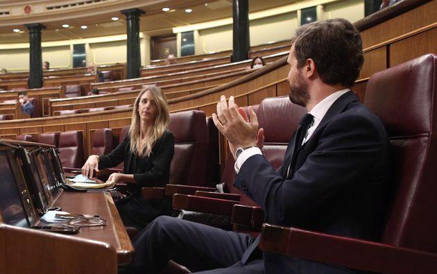 Cayetana Álvarez de Toledo y Pablo Casado, este miércoles en el