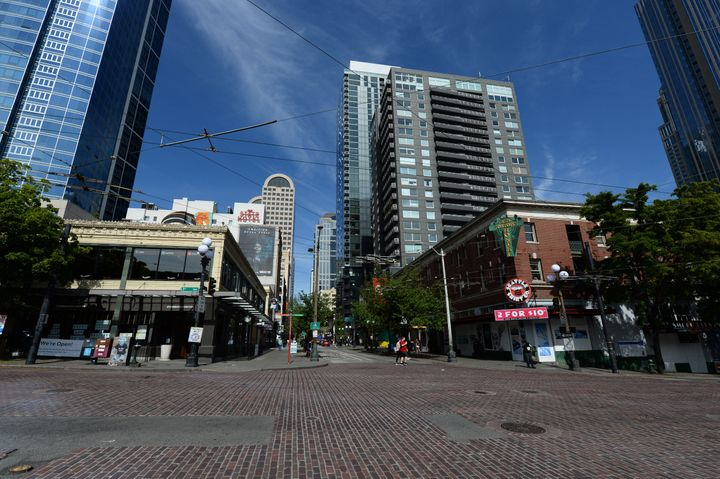 Streets near Seattle's Pike Place Market on May 9, 2020, have little foot and automobile traffic due to the stay-at-home orde