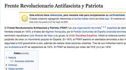 La página del FRAP en Wikipedia sufre hasta 28 cambios en seis