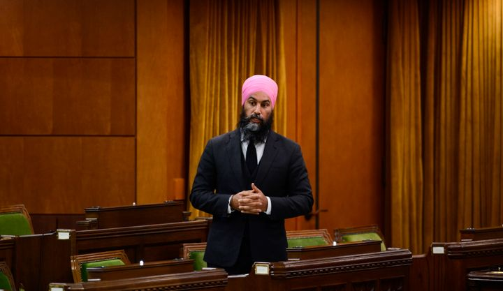 NDP leader Jagmeet Singh stands during question period in the House of Commons on in Ottawa on May 25, 2020.