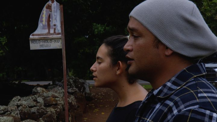 "In a scene from the documentary ""Cane Fire,"" Ke'ala Lopez and Kamu ""Charles"" Hepa lead a Hawaiian chant bef"