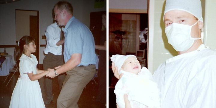Kenney dancing with his daughter when she was younger. On the right, he's pictured with her in the delivery room.