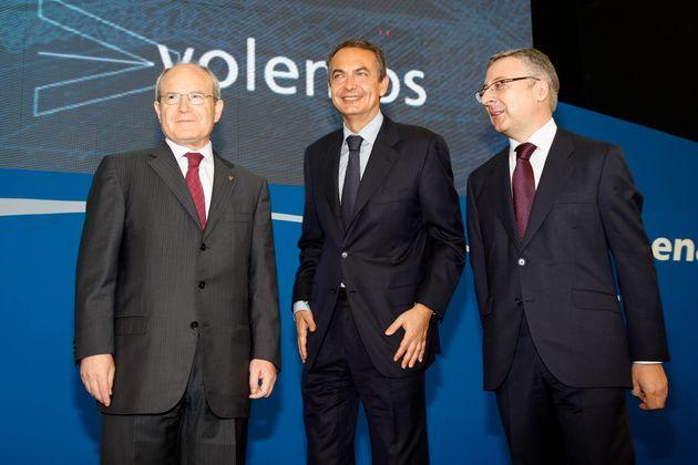 José Montilla y José Blanco, junto a José Luis Rodríguez Zapatero en la inauguración...