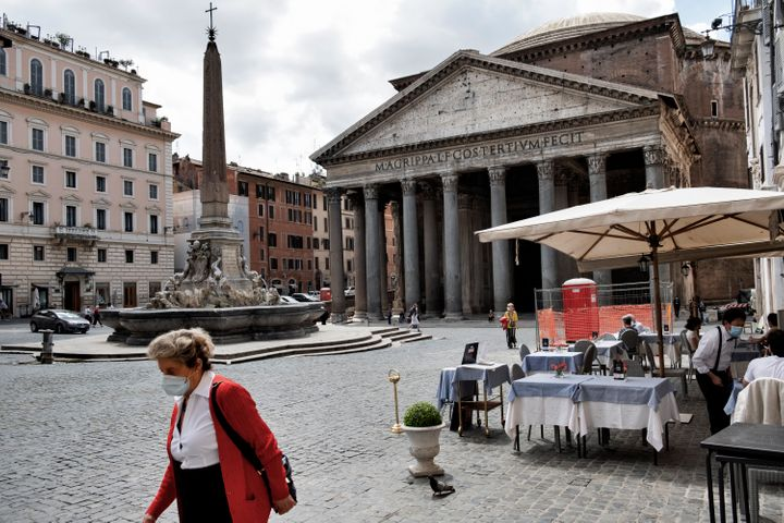 A cafe facing the Pantheon in Rome on May 20. Without tourists or office workers, many restaurants and bars remain empty.