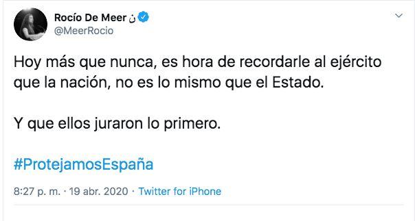 Tuit de Rocío de Meer, diputada de