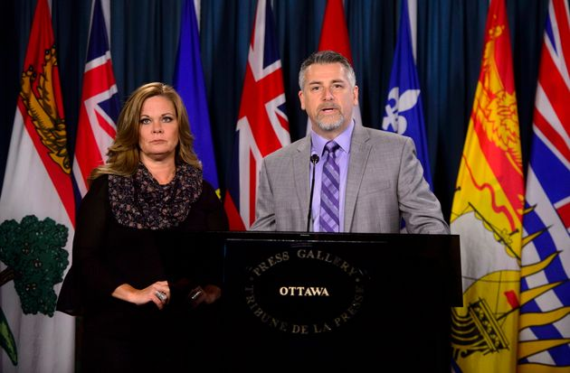 Canadian Coalition for Firearm Rights CEO Rod Giltaca and vice-president Tracey Wilson hold a news conference...