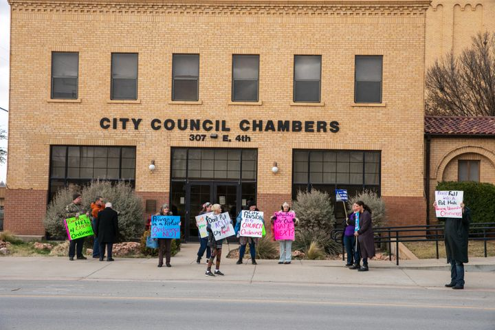 Protesters in Big Spring, Texas, ahead of a vote on a city ordinance prohibiting abortions within city limits. Big Spring was