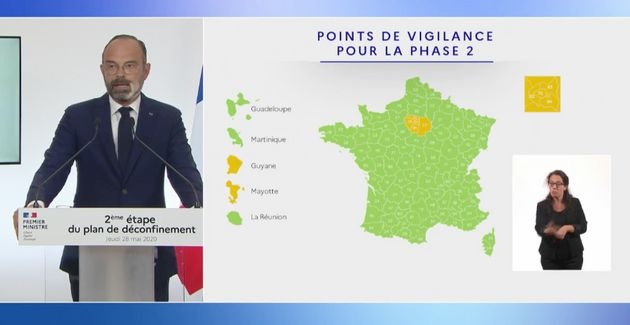 Édouard Philippe a présenté ce jeudi 28 mai une nouvelle carte d'activité épidémique du coronavirus,...