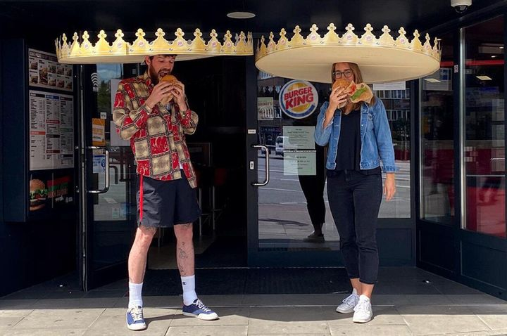 Burger King Germany is handing out six-foot crowns to ensure patrons are physically distancing.