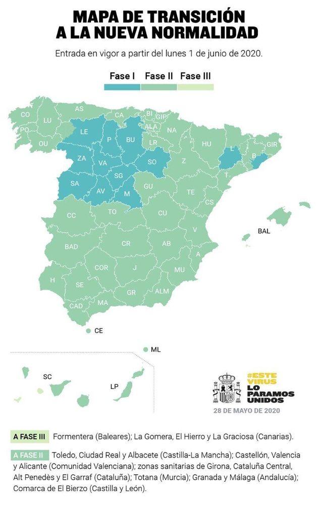 España, dividida en tres