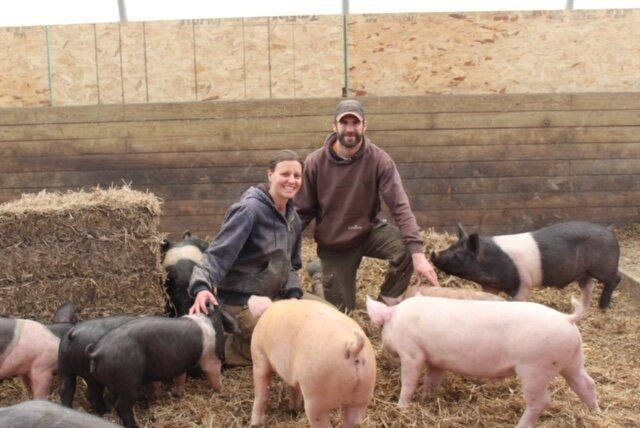 Emily and Tim Zweber at their organic family farm in Elko, Minnesota.