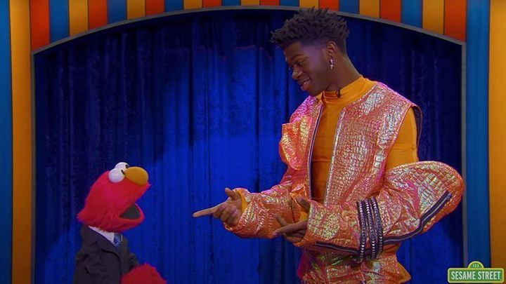 "Elmo and Lil Nas X on ""The Not-Too-Late Show With Elmo."""