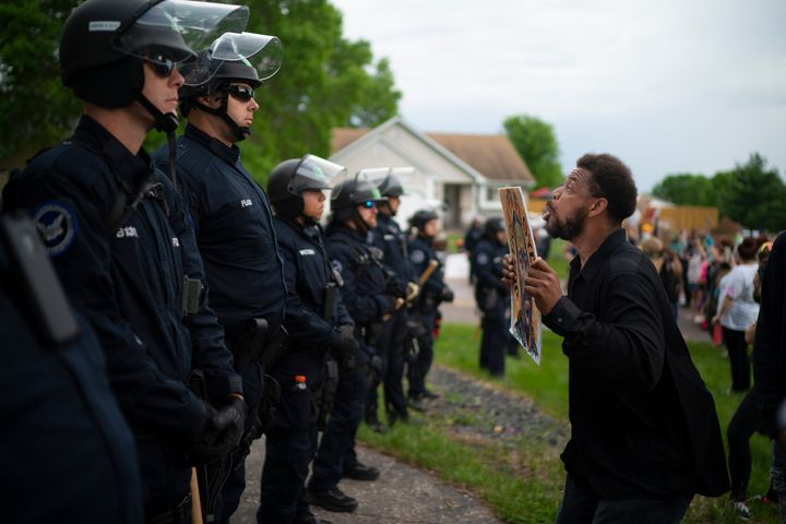 Protests in the Minneapolis area sparked by the death of George Floyd included one Wednesday evening outside the home of Dere