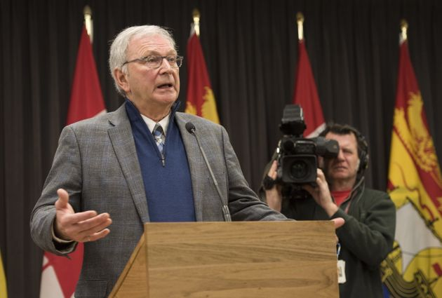 New Brunswick Premier Blaine Higgs speaks with the media in Fredericton, New Brunswick on Feb. 17,