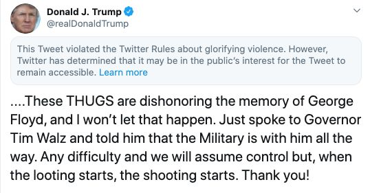 Twitter Places 'Glorifying Violence' Warning On Donald Trump's Tweet About George