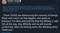 Twitter segnala (ma non oscura) la minaccia di Trump ai rivoltosi di
