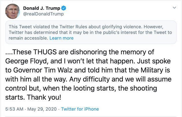 Twitter Hits Trump With 'Glorifying Violence' Warning After President Attacks Minneapolis Protesters