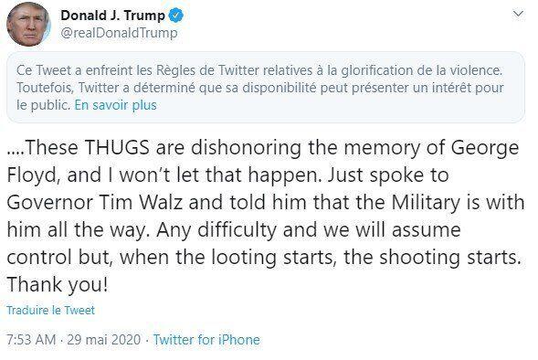 Menacé par Donald Trump, Twitter riposte en masquant un de ses